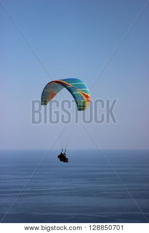 Flying Tandem Paragliding Above the Mediterranean Sea in France