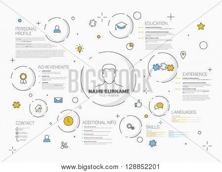 Vector original minimalist cv / resume template - creative version with thin line icons