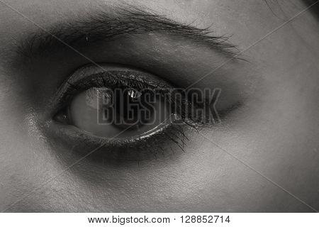 Beautiful eye makeup eyeliner.  Interesting image of the girl.
