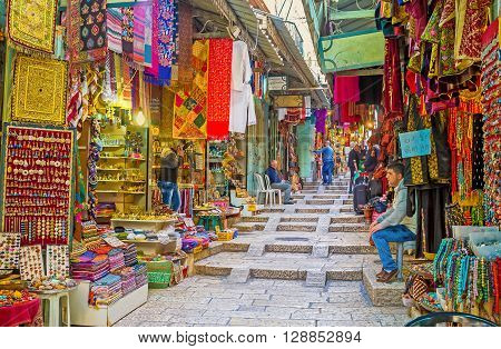 JERUSALEM ISRAEL - FEBRUARY 18 2016: All the colors tastes and flavours of the Middle East tourists can find in Arab Bazaar on King David's street on February 18 in Jerusalem.