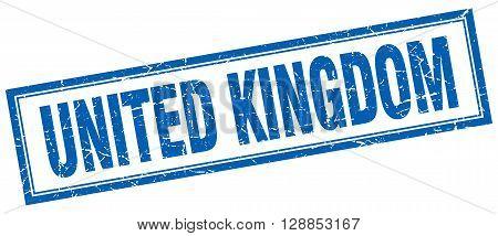 United Kingdom blue square grunge stamp on white