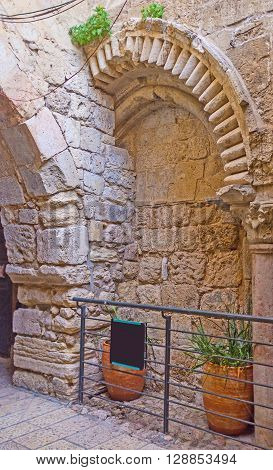 The preserved Arch of the Virgin Mary was the entrance into the courtyard of the Church of the Holy Sepulchre in the Middle Ages Jerusalem Israel.