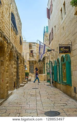 JERUSALEM ISRAEL - FEBRUARY 18 2016: The Jewish Quarter is the quiet cozy place for the tourist walks on February 18 in Jerusalem.