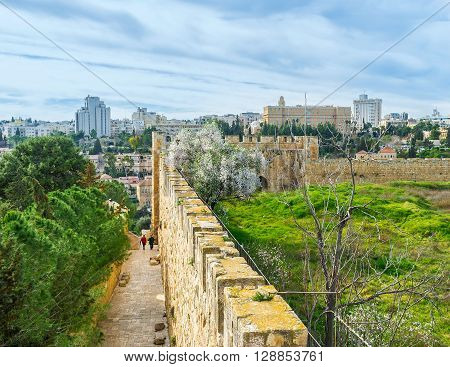 The narrow street stretch along the ramparts and located on west side of the Mount Zion Jerusalem Israel.