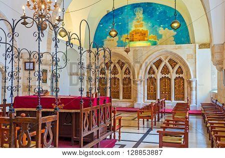 JERUSALEM ISRAEL - FEBRUARY 18 2016: The prayer hall of Yochanan ben Zakai Synagogue one of Four Sephardic Synagogues complex on February 18 in Jerusalem.