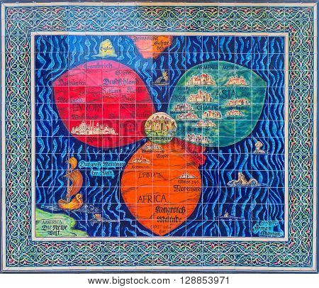 JERUSALEM ISRAEL - FEBRUARY 17 2016: The replica of the medieval Clover map by H. Bunting - Jerusalem in center of three leaves - continents of the world on February 17 in Jerusalem.