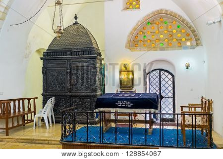 JERUSALEM ISRAEL - FEBRUARY 18 2016: The Eliyahu Hanavi synagogue is the oldest among Four Sephardic Synagogues and mainly served for study Torah on February 18 in Jerusalem.