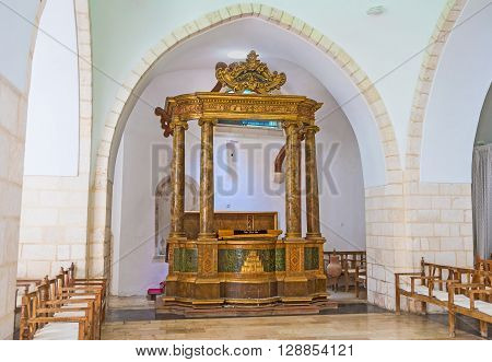 JERUSALEM ISRAEL - FEBRUARY 18 2016: The Istanbuli Synagogue (Four Sephardic Synagogues complex) is used for the inauguration of the Sephardic Chief Rabbi of Israel on February 18 in Jerusalem.