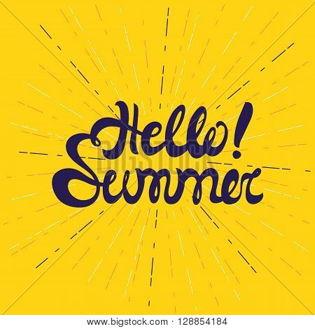 Hello Summer Poster, Lettering With Conceptual Background