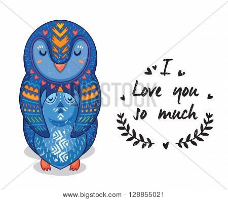 Cute vector card with mother and child penguins. Lovely card with hearts and text I love you so much