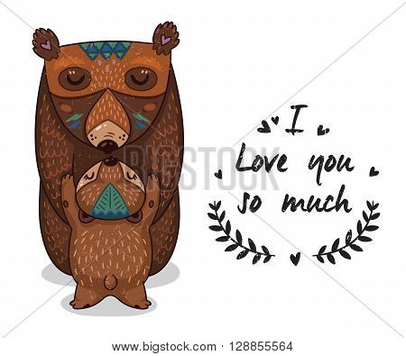 Cute vector card with mother and child bears. Lovely card with hearts and text I love you so much