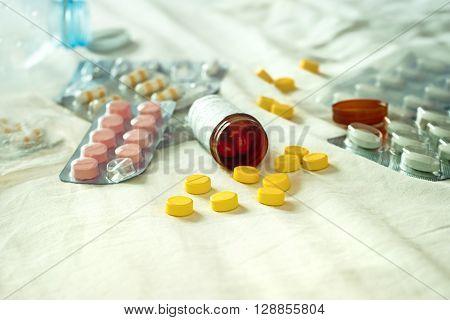 Medicine pills for health care when sick Drug treatment prescription concept