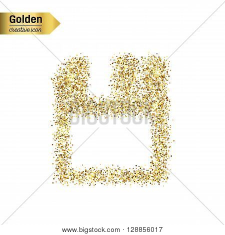 Gold glitter vector icon of save isolated on background. Art creative concept illustration for web, glow light confetti, bright sequins, sparkle tinsel, abstract bling, shimmer dust, foil