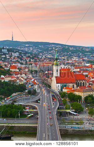 BRATISLAVA, SLOVAKIA - MAY 05, 2016: View of Bratislava city center over river Danube on May 05, 2016.