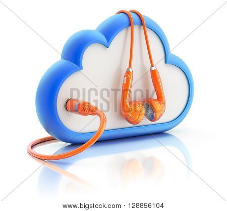 Orange earphones with music in the cloud concept - 3D illustration