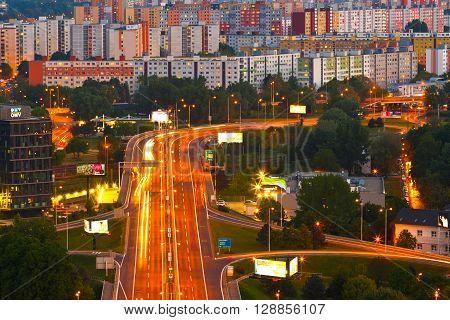 BRATISLAVA, SLOVAKIA - MAY 05, 2016: View of Petrzalka city district in Bratislava, Slovakia on May 05, 2016.