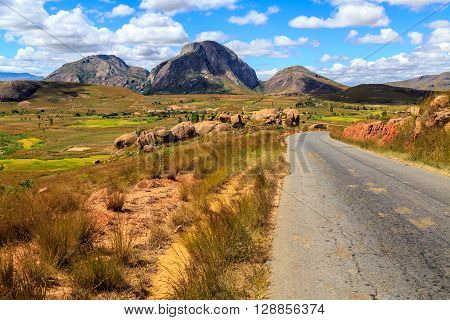 Landscape With Road And Rock Formation In Central Madagascar