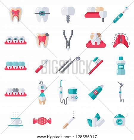 Dental Flat Icons Set. Vector Illustration for Dentistry and Orthodontics. Healthy Tooth, Transparent and Metallic Braces, Retainer, Bad Habits - Smoking, Tea and Coffee, Candy