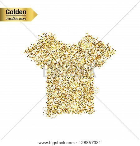 Gold glitter vector icon of tee shirt isolated on background. Art creative concept illustration for web, glow light confetti, bright sequins, sparkle tinsel, abstract bling, shimmer dust, foil