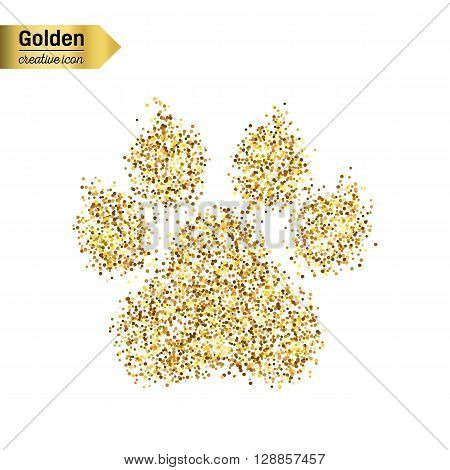 Gold glitter vector icon of animal footprint isolated on background. Art creative concept illustration for web, glow light confetti, bright sequins, sparkle tinsel, abstract bling, shimmer dust, foil