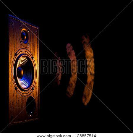 audio speaker illuminated in blue and orange on a black background isolated