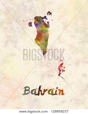 Bahrain map in artistic abstract watercolor background