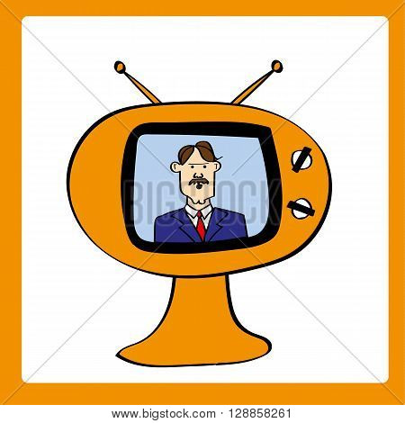 Retro style television set with a male news anchor providing updates and bulletins