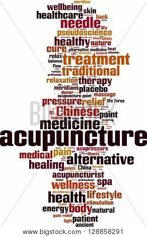 Acupuncture word cloud concept. Vector illustration on white