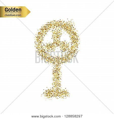 Gold glitter vector icon of ventilator isolated on background. Art creative concept illustration for web, glow light confetti, bright sequins, sparkle tinsel, abstract bling, shimmer dust, foil.