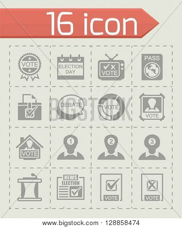 Vector Election icon set on grey background