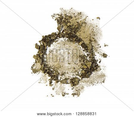 Golden green eye shadow crush isolated on white background. Trendy green eyeshadow with sparkles. Gold and green crumbles of eye shadow. Khaki scattered pieces of eye shadow.