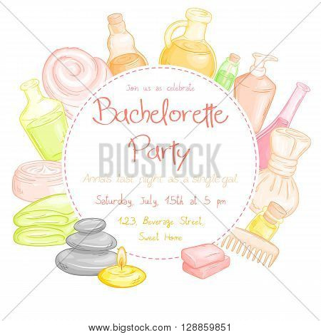 vector illustration of spa party invitation with round text place surrounded spa and massage accessories - towel oil bottles brushes soap stones and candle.