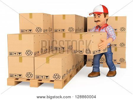 3d working people illustration. Storekeeper stacking boxes in a warehouse. Isolated white background.
