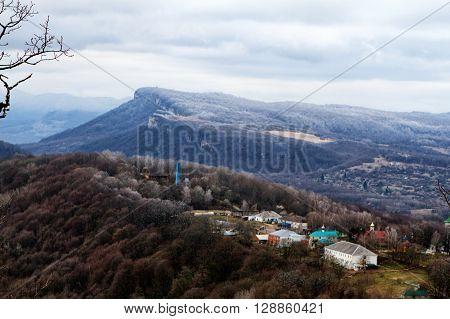 Spring on the Caucasus Republic of Adygea winter mountain landscape