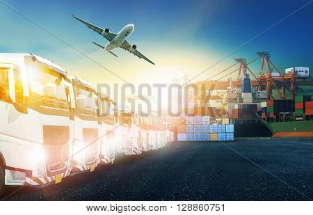 container truck ship in port and freight cargo plane in transport and import-export commercial logistic shipping business industry