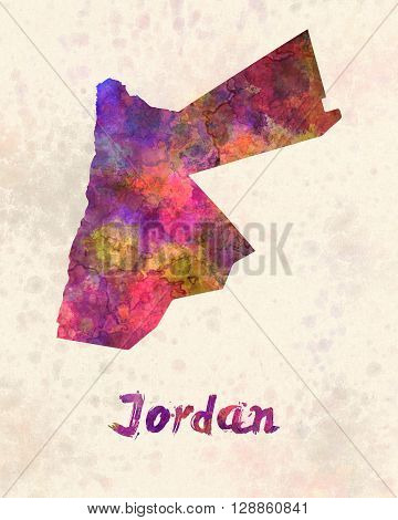 Jordan map in artistic abstract watercolor background