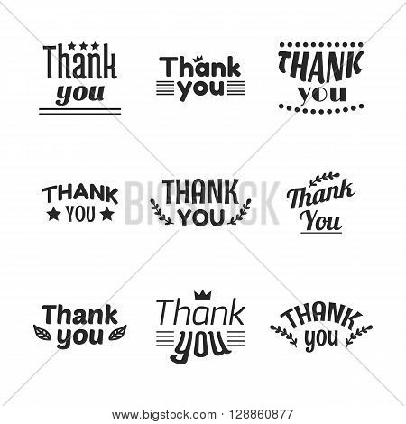 Set Of Vintage Style Thank You Labels, Emblems, Stickers And Badges. Decoration Design Elements