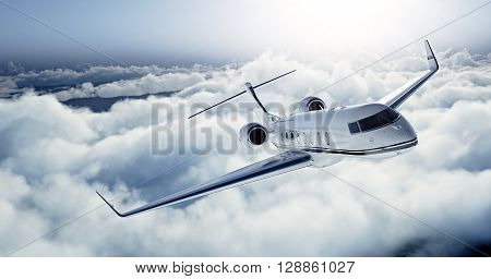 Realistic photo of White Luxury generic design private jet flying over the earth. Empty blue sky with white clouds at background. Business Travel Concept. Horizontal. 3D rendering