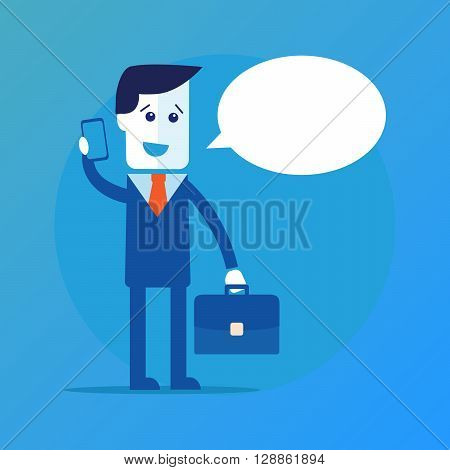 Businessman or manager. A man in a suit with a briefcase in his hand talking on a cell phone. Vector illustration eps 10