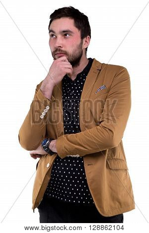 Bearded thoughtful man in jacket on white background