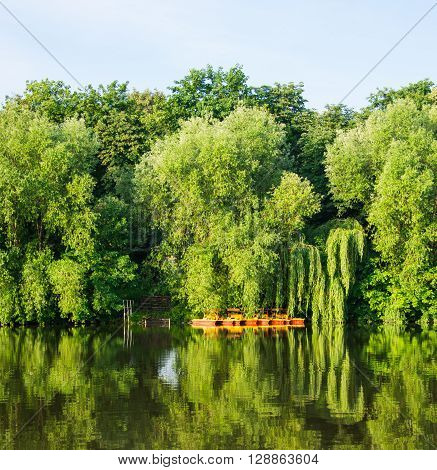 Summer river landscape with green trees countryside, solitary, colour, moody,
