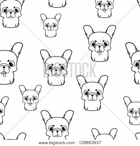 Seamless pattern with french bulldog puppies. Black and white vector bulldog. Wallpaper with sweet small cartoon dog with funny muzzle. Purebred puppy isolated on white