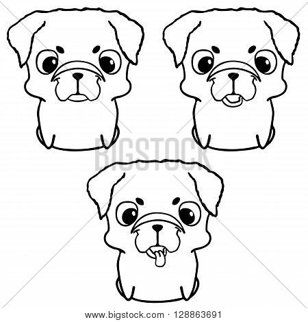 Set of pug puppies. Hand drawn vector illustration isolated on white. Cute little dogs in cartoon style. Friendly and happy sitting puppies. Black and white illustration