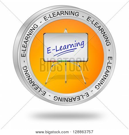 decorative glossy orange E-Learning Button 3D Illustration
