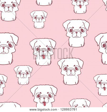 Seamless pattern with pug puppies. Hand drawn vector illustration on pink background. Cartoon style seamless wallpaper. Texture with pug puppies