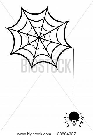 vector illustration of a funny spider and web