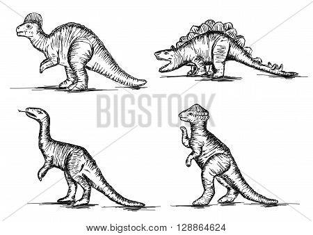 Prehistoric Jurassic Dinosaurs Reptiles Sketch Vector Illustration