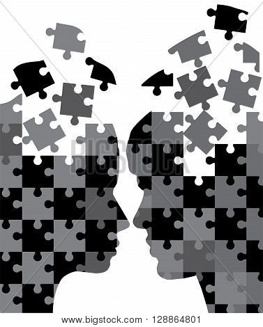 vector illustration od man and woman head silhouettes puzzles