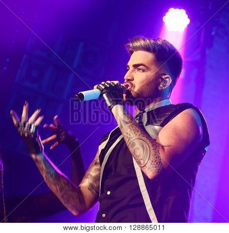 HUNTINGTON, NY-FEB 25: Singer Adam Lambert performs onstage at the Paramount on February 25, 2016 in Huntington, New York.