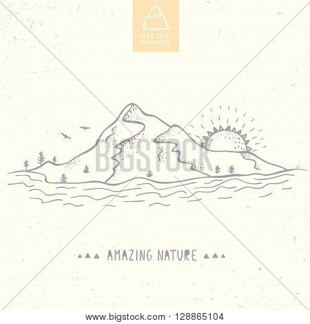 Beautiful vector illustration nature mountains, river and sun. Hand drawn sketch